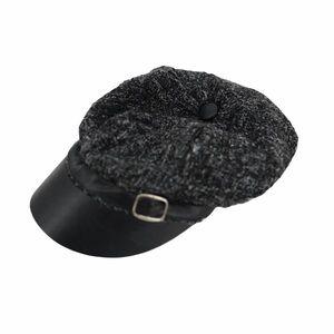 XOXO Black grey Breton Ivy newsboy cap w/ buckle